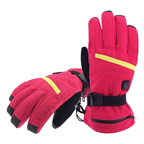 Aroma Season Rechargeable Battery Heated Gloves for Men and Women, Battery Powered Winter Gloves for Winter Outdoor Activities, Hiking Gloves Relieve Raynauds Disease (Red, L/XL)