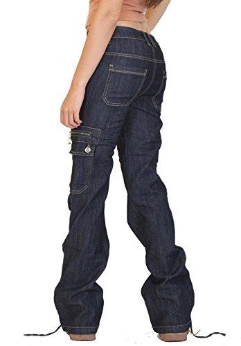 Glamour Pantalon Outfitters Jambes Combat Cargo Denim en Bleu Pantalon Larges rgrxfwdvA