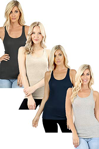 (Zenana Outfitters 4 Pack Womens Basic Ribbed Racerback Tank Top - Charcoal, Beige, Navy, Heather Grey - Large)