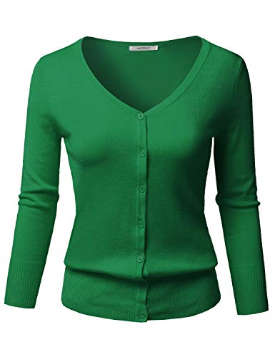 Solid Button Down V-Neck 3/4 Sleeves Knit Cardigan Kelly Green 3XL