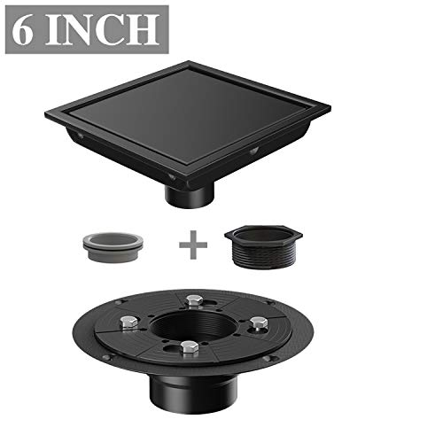 (Ushower 6 Inch Square Drain for Shower with Drain Base Flange 2 Inch Outlet, Floor Tile in Drain Square with Threaded Adapter, Rubber Coupler, Hair Strainer for Bathroom Kitchen Basement, Black)