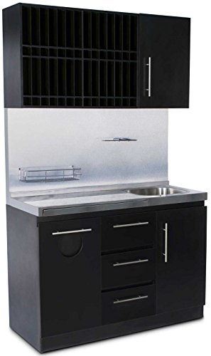 Icarus Modern Black Color Bar Shampoo Hair Station With Sink by Icarus