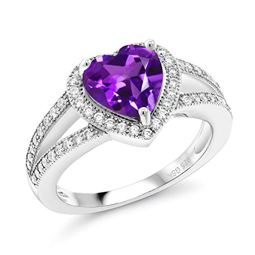 Gem Stone King Purple Amethyst Gemstone Birthstone 925 Sterling Silver Ladies Ring (2.11 Cttw Heart Shape Available 5,6,7,8,9) (Size 7)
