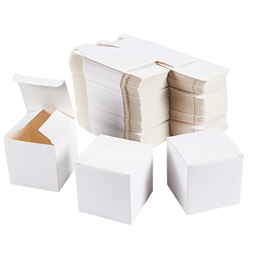 (White Gift Boxes - 100-Pack Gift Wrapping Paper Boxes with Lids, Kraft Boxes for Party Supplies, Cupcake Containers, Wedding Favors, Small, 3 x 3 x 3 Inches)