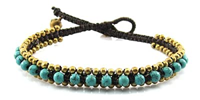 MGD, Blue Turquoise Color Bead with Golden Beads and Brass Bell Anklet. Beautiful Handmade Stone Ankle Bracelet Made From Wax Cord. Fashion Jewelry for Women, Teens and Girls, JB-0182A