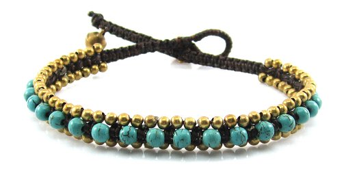MGD, Blue Turquoise Color Bead with Golden Beads and Brass Bell Anklet. Beautiful Handmade Stone Ankle Bracelet Made From Wax Cord. Fashion Jewelry fo…