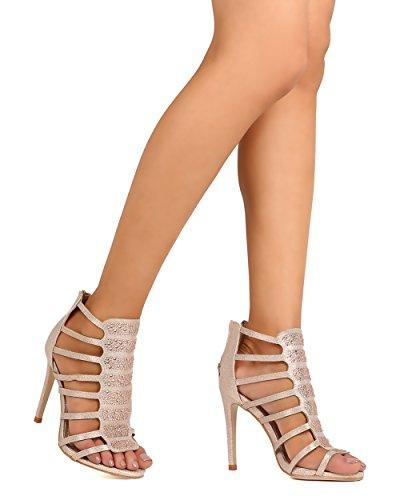 Dbdk Fe41 Kvinnor Glitter Läder Öppen Tå Rhinestone Bur Stilett Sandal - Guld