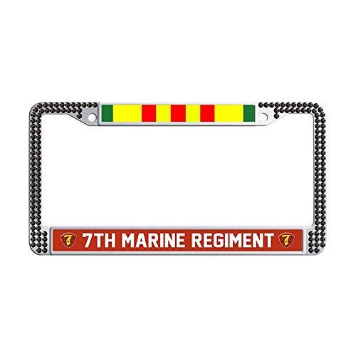 (JiuzFrames 7th Marine Regiment Vietnam Veteran Glitter Rhinestone License Plate Frame, Pure Handmade Bling Rhinestones Stainless Steel Crystal Diamond Bling License Plate with Screw Caps (Black))