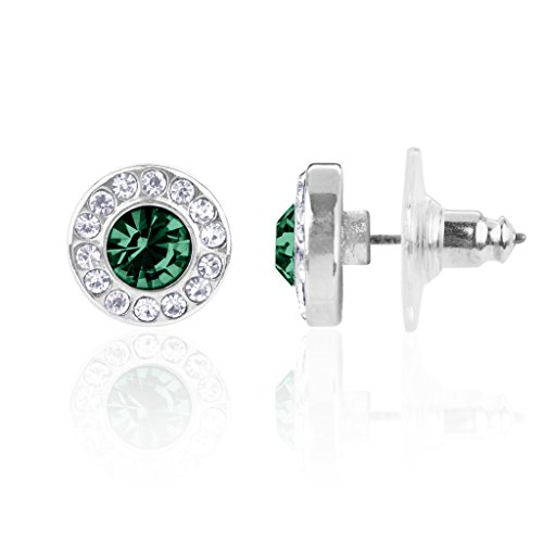 Lux Accessories Synthetic emerald May Birthstone Pendant Disc Pave Charm Stud Earrings Birthday - Earrings Synthetic Stone
