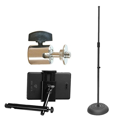 On Stage Round Base Mic Stand MS7201B + On Stage Ball Joint Adaptor + On-Stage TCM1900 Grip-On Universal Device Holder - Ultimate Microphone Accessory (Ms7201b Round Base)