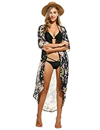 Meaneor Women's Chiffon Kimono Beach Bikini Cover Up Floral Cardigan