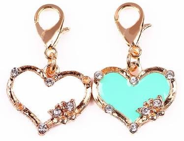 (Beautiful White & Turquoise Heart Charms with Unique Rhinestones Design Embellish Your Purse, Also for DIY Arts & Craft Charm, Pendant, Backpack, Keychain, KandyCharmz 244 )