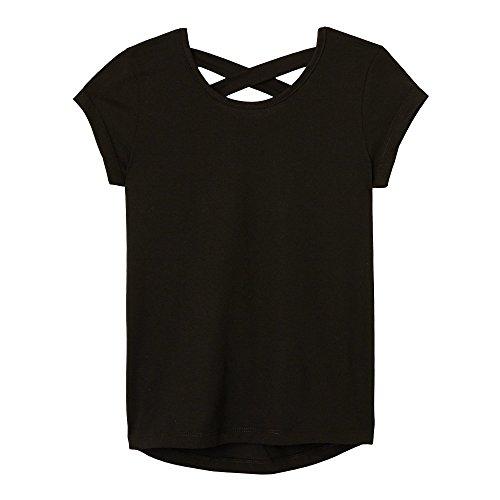 (French Toast Girls' Little' Short Sleeve Cross Back Top, Black,)