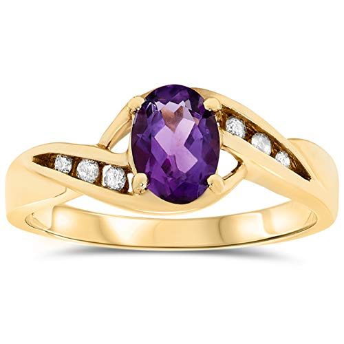 - 10k Yellow Gold Oval Purple Amethyst and Diamond Promise Ring, Birthstone of February