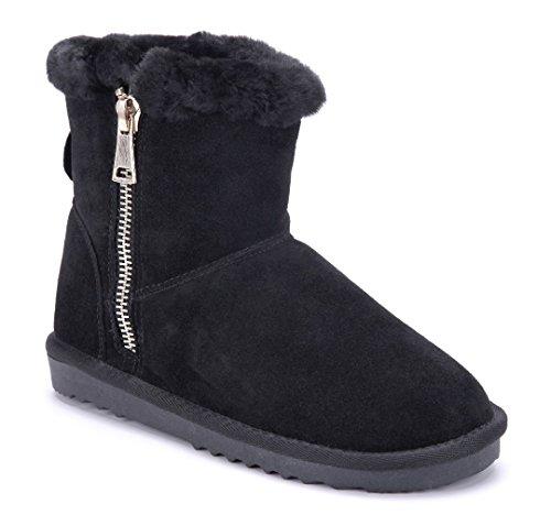 Schuhtempel24 Damen Schuhe Winterstiefeletten Stiefel Boots Flach Schwarz