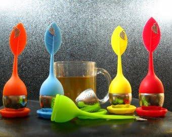 HelpCuisine infusor de te//infusionador//colador te//filtro te//infusores de te amarillo Infusor en forma de hoja de T/é hecho de silicona 100/% alimentaria libre de BPA juego de 2 infusores