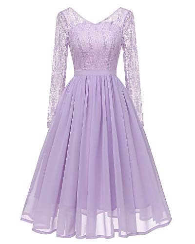 Women's Lace Midi Dress Illusion Long Sleeves Chiffon Homecoming Dresses Lavender M