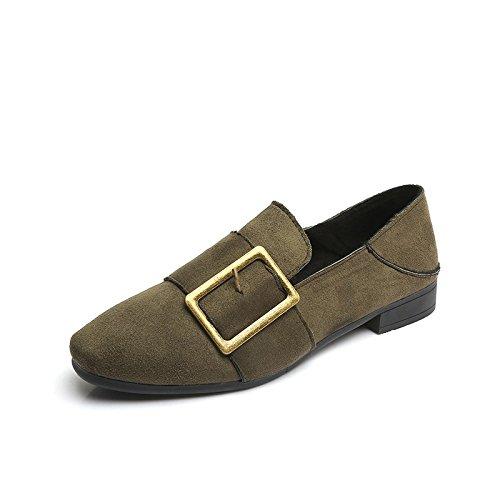DYF Frauen Flach Mund Nackt Schuhe Flachem Absatz Hausschuhe Ring Farbe, Grün, 36