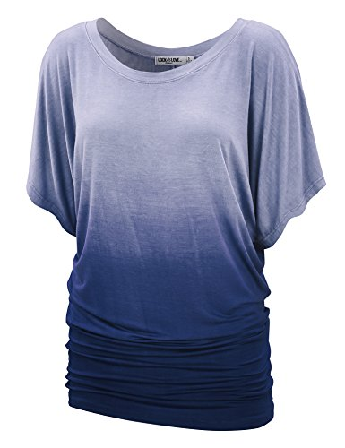 WT1052 Womens Round Neck Short Sleeve Dip-Dye Dolman Top XL Navy