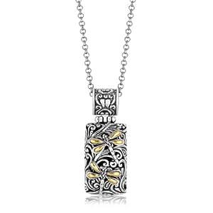 18 K oro amarillo y plata esterlina de la libélula colgante de diseño de rectángulo