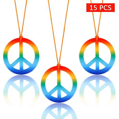 15 Pieces Rainbow Peace Sign Pedant Necklace Set 1960
