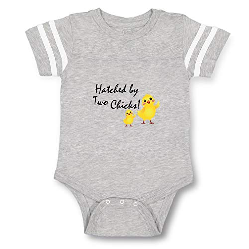 Hatched by Two Chicks! Contrasting Stripes Taped Neck Boys-Girls Cotton Baby Football Bodysuit Sports Jersey - Sport Gray, 12 Months