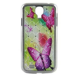Buy Electroplating Crystal Relief Purple Butterfly Pattern Hard Case for Sansung I9500