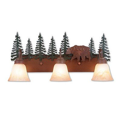 Vanity Light Lodge Unique Handmade in USA | Wasatch Triple - Bear | H32326AS-03 | Avalanche Ranch Lighting (Bear Rustic Vanity)