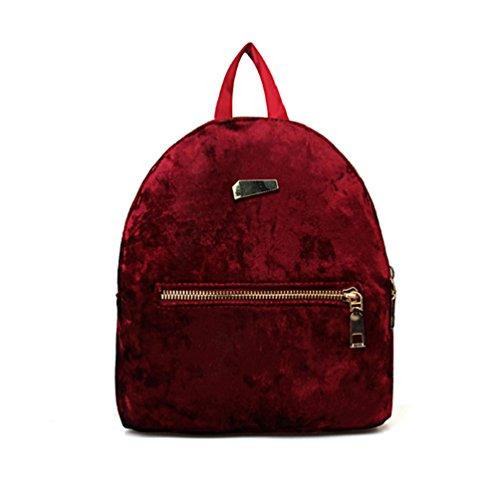 Bluelans Winter Fashion Women Velvet Mini Backpack Student School Travel Shoulders (Winter Womens Backpack)