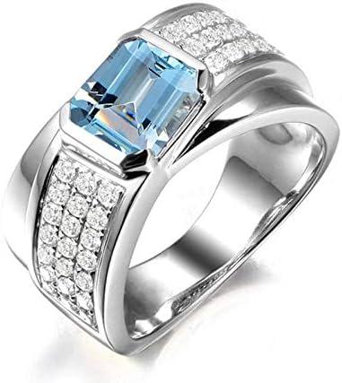 ANAZOZ Modeschmuck Smaragdschliff 6X6mm Blau Topas Antragsring 925 Sterling Silber Blau Verlobung Eheringe für Herren