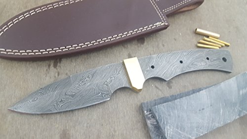 Damascus Knife Kit By ColdLand | Custom Handmade Damascus Steel Full Tang Blank Blade with Bolster attached, Brass Pins, Leather Sheath, Handle Scales for Knife Making Supplies ZK22-C