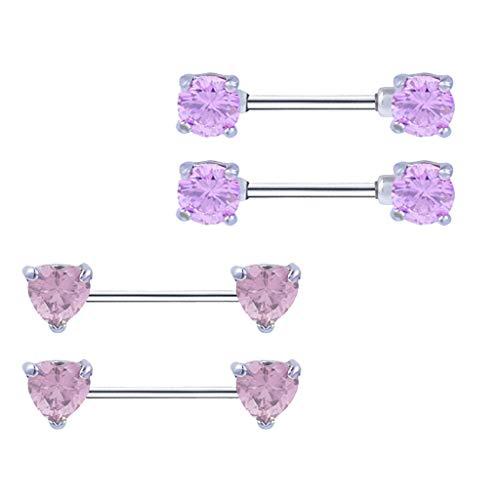 (2 Pair Stainless Steel Barbell Straight Bar 14g Nipplering Body Jewelry)