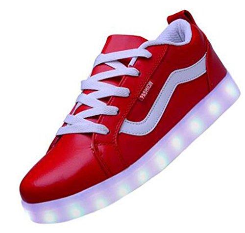Littlepanda Vrouwen Usb Opladen Led Sportschoenen Knipperen Sneakers Rood