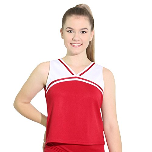 Danzcue Womens Classic Cheerleaders Uniform Shell Top, Scarlet-White, Large ()