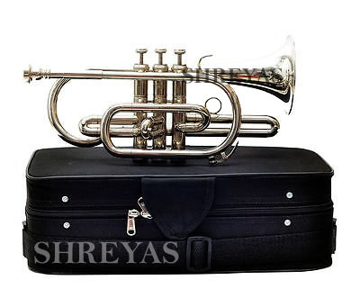 Shreyas Cornet Bb Pitch With Free Hard Case And Mouthpiece Nickel Silver