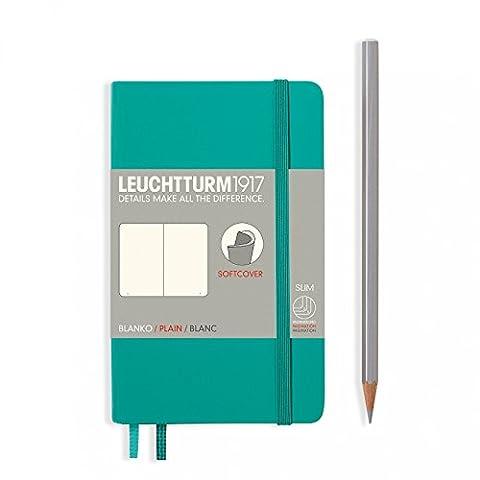 "Leuchtturm 1917 Soft Cover Small Slim Pocket Notebook 3.5"" x 5.9"", Emerald, Plain - Slim Pocket Diary"
