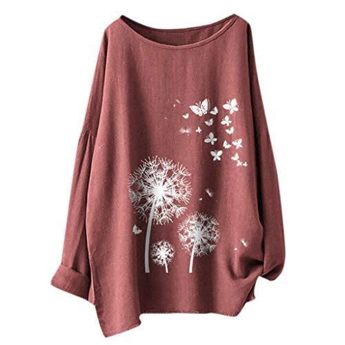 CUCUHAM  The Fashion Women's Casual Print Butterfly Flower Long Sleeve T-Shirt Top Blouse Pink