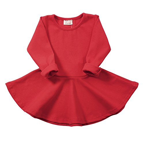 Infant Toddler Baby Girls Dress Pink Ruffle Long Sleeves Cotton (2-3Year(3T), Red)