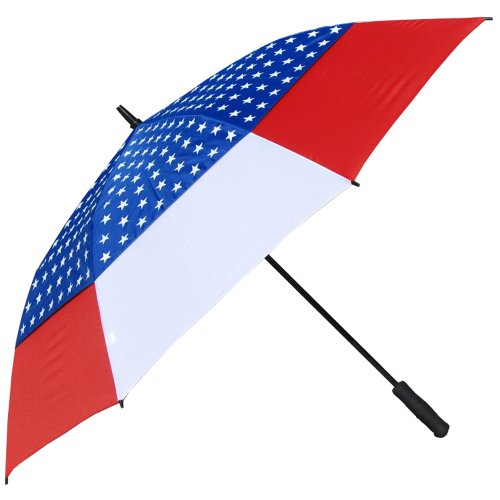 RainStoppers Auto Open Windbuster Umbrella with USA Flag Canopy, 60-Inch
