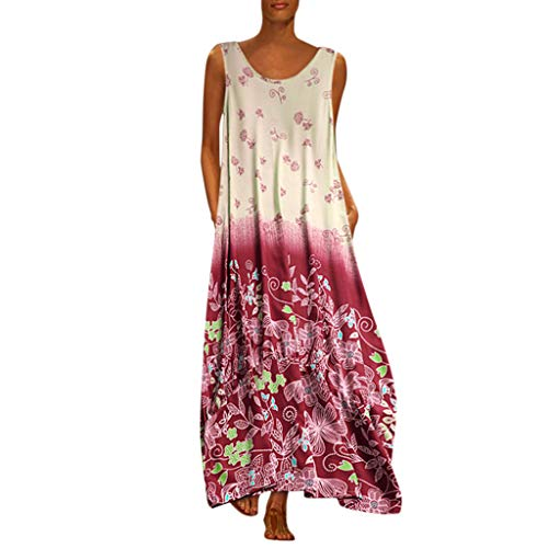 - Aniywn Oversized Dress Women's Sleeveless Casual Print Floral Loose Party Long Dress Plus Size Red