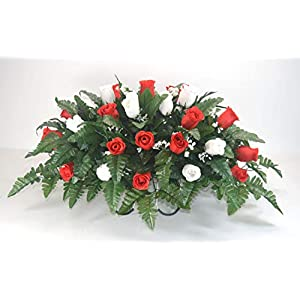 R15 Red and White Rose Buds Cemetery Flower Arrangement, Headstone Saddle, Grave, Tombstone Arrangement, Cemetery Flowers 9