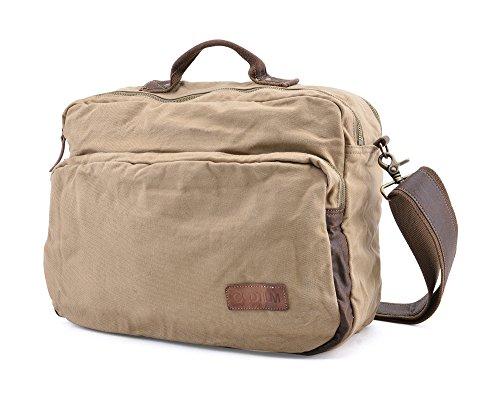 Gootium 51130KA Canvas Laptop Shoulder Messenger Bag - Leather Handles (Cotton Carry On)