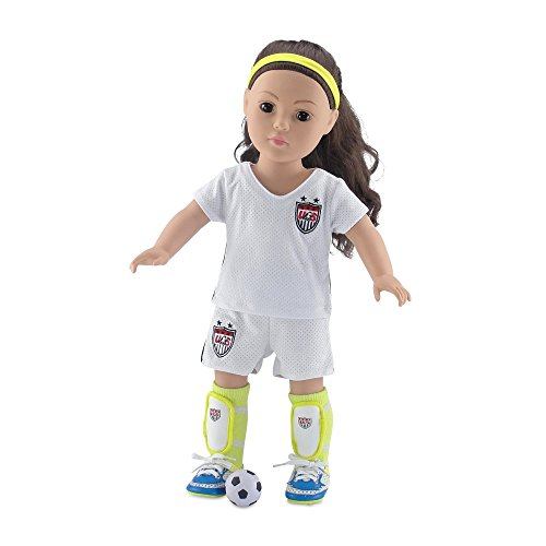 18 Inch Doll Clothes | Team USA-Inspired 7 Piece Soccer Uniform, Including Shirt and Shorts, Neon Yellow Socks, Ball, Shin Guards, Headband and Amazing Soccer Shoes/Cleats | Fits American Girl Dolls