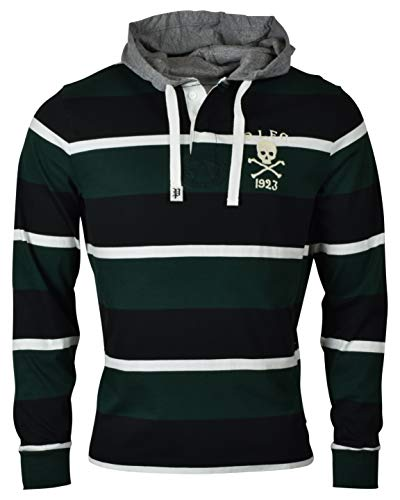 (RALPH LAUREN Polo Mens Cotton Hooded Skull Long Sleeve Rugby Shirt Green (Large))