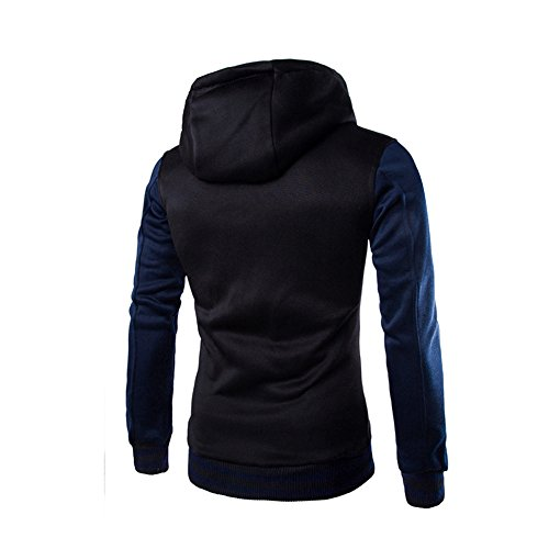HARRYSTORE Hooded Button Sweatshirt Jacket Outerwear Hoodie Retro Navy Hooded Sleeve Long Slim Men FzqwrFO