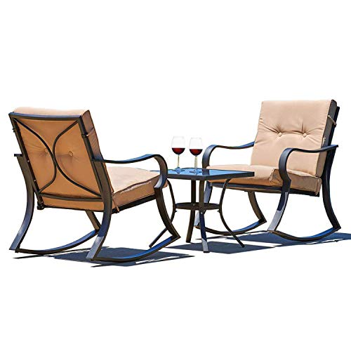 - Outroad Outdoor Rocking Chairs Bistro Set atio Set Glass Top Table & Thick Cushions - 3-Piece Black Steel Furniture