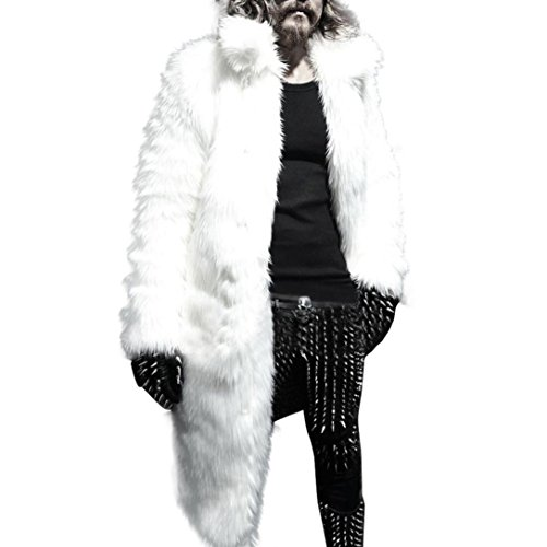 TOOPOOT Men Faux Fur Parka Outwear,Winter Mens Warm Thicker Long Coat Jacket (Size:L, White) by TOOPOOT