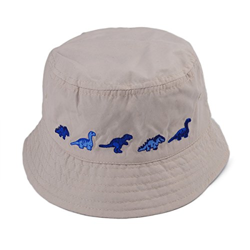 Flammi Baby Boys Toddler Cotton Bucket Hat Reversible Sun Hat UV Protection (6 Months - 4 Years) (1.5-3 Years, Dinosaur (Reversible Uv Protection Hat)