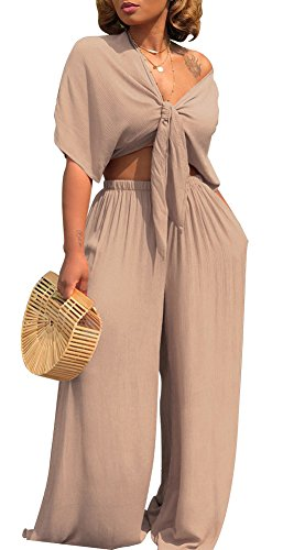(Voghtic Women Sexy 2 Piece Outfits Cap Sleeve Crop Top and Wide Leg Pants Set Jumpsuit Tracksuit)