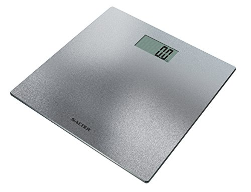 Salter Digital Bathroom Scales – Easy to Read Display, Electronic Scale for Weighing with Precision, Slimline Design, Measure Weight in Kg st or lb, Step-On for Instant Readings – Silver / Glitter